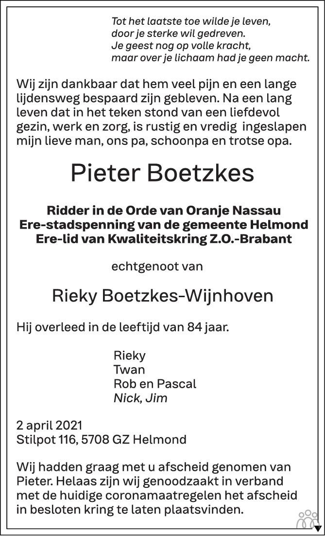 Overlijdensbericht van Pieter Boetzkes in Eindhovens Dagblad