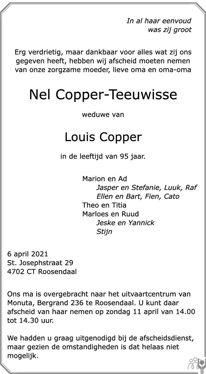 Overlijdensbericht van Nel Copper-Teeuwisse in BN DeStem