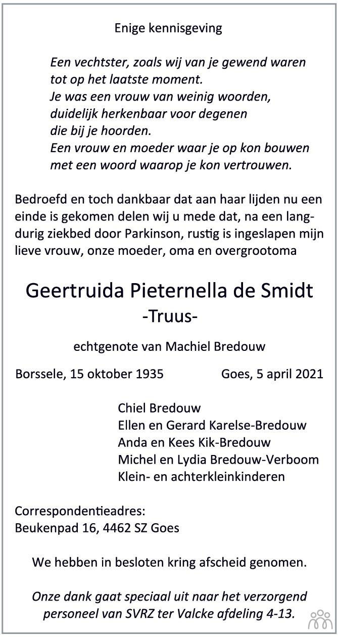 Overlijdensbericht van Geertruida Pieternella (Truus) Bredouw-de Smidt in PZC Provinciale Zeeuwse Courant