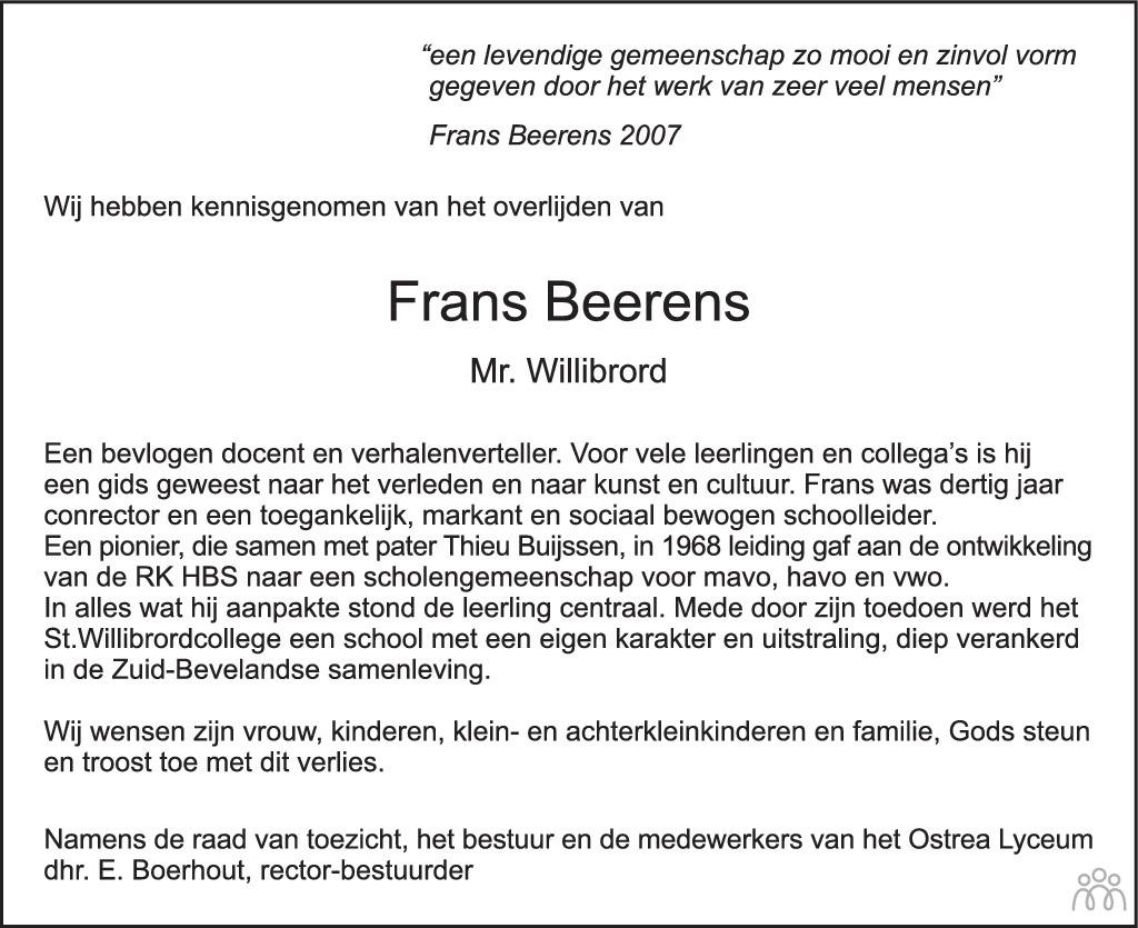 Overlijdensbericht van Frans Beerens in PZC Provinciale Zeeuwse Courant
