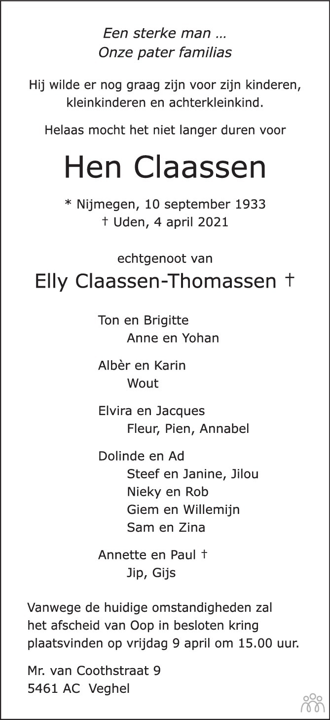 Overlijdensbericht van Hen Claassen in de Gelderlander