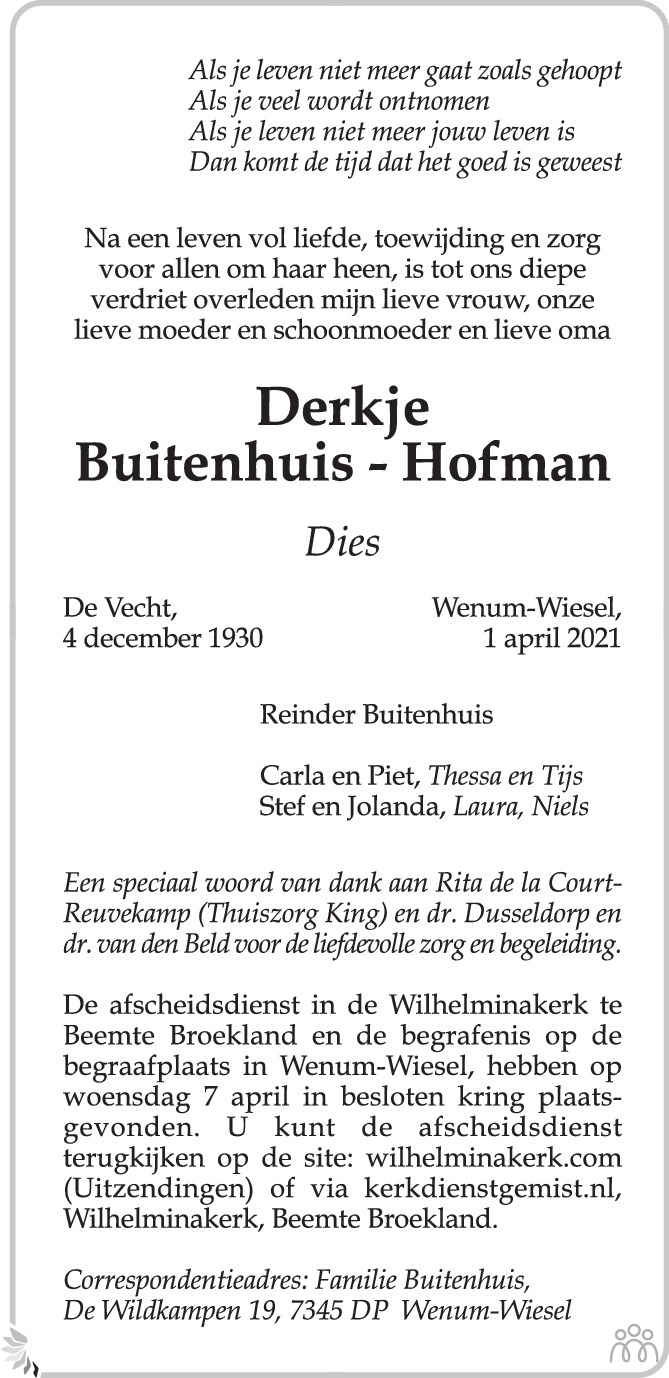Overlijdensbericht van Derkje (Dies) Buitenhuis-Hofman in de Stentor