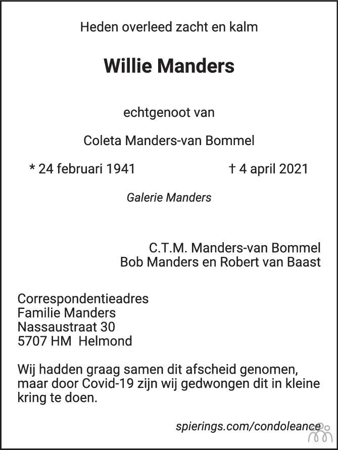Overlijdensbericht van Willie Manders in Eindhovens Dagblad
