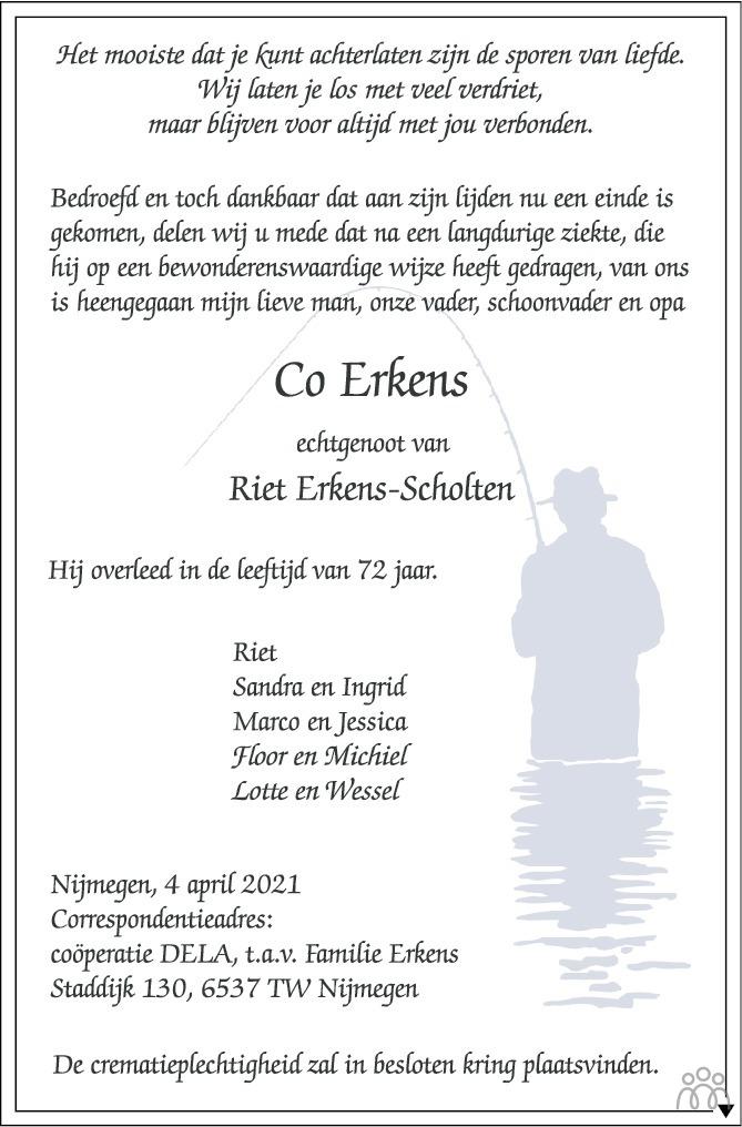 Overlijdensbericht van Co Erkens in de Gelderlander