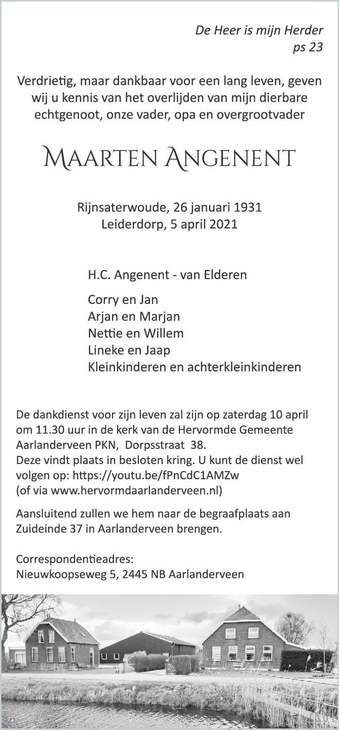 Overlijdensbericht van Maarten Angenent in AD Algemeen Dagblad