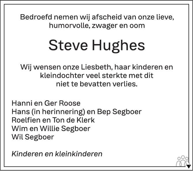 Overlijdensbericht van Steve Hughes in PZC Provinciale Zeeuwse Courant