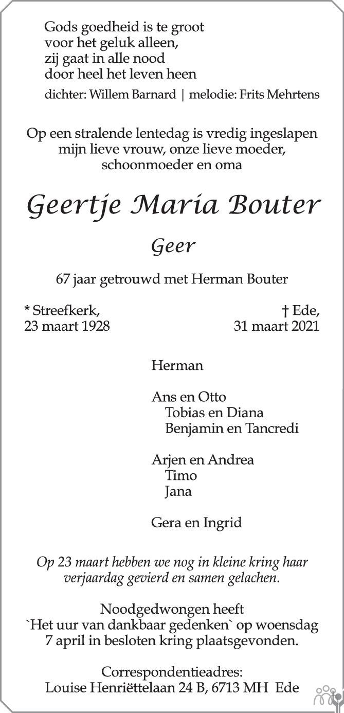 Overlijdensbericht van Geertje Marita (Geer) Bouter in Trouw