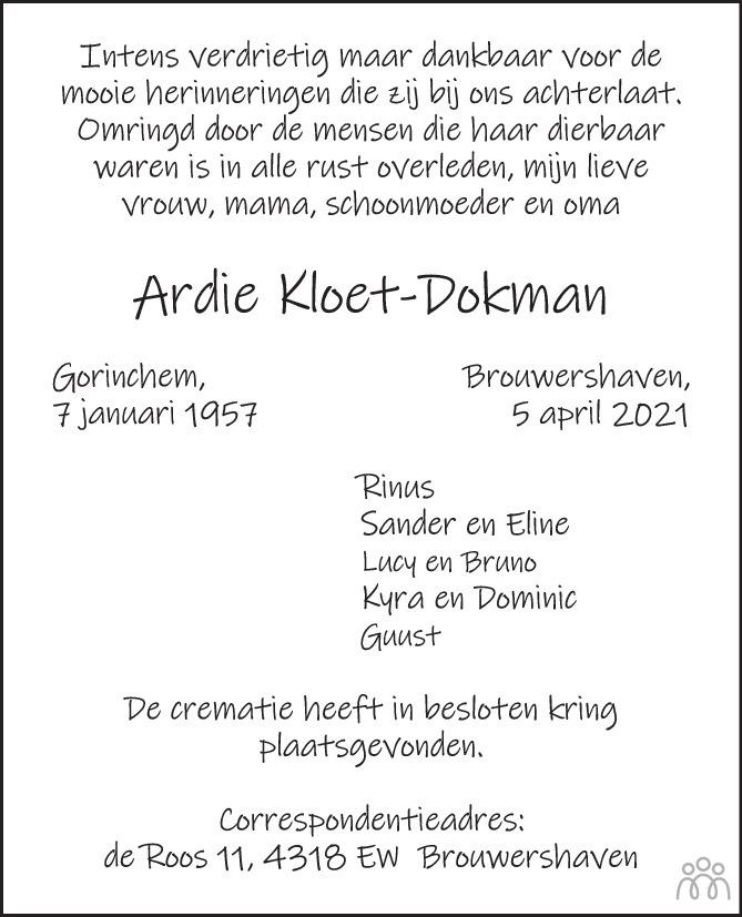 Overlijdensbericht van Ardie Kloet-Dokman in PZC Provinciale Zeeuwse Courant