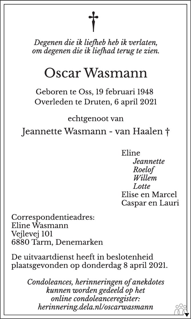 Overlijdensbericht van Oscar Wasmann in de Gelderlander