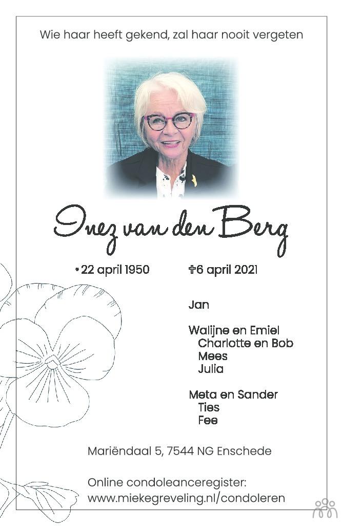 Overlijdensbericht van Inez van den Berg in Tubantia