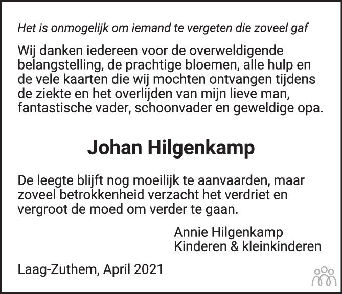 Overlijdensbericht van Johan (Johannus Marinus Jozef) Hilgenkamp in de Stentor