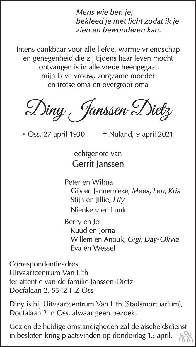 Overlijdensbericht van Diny Janssen-Dietz in Brabants Dagblad