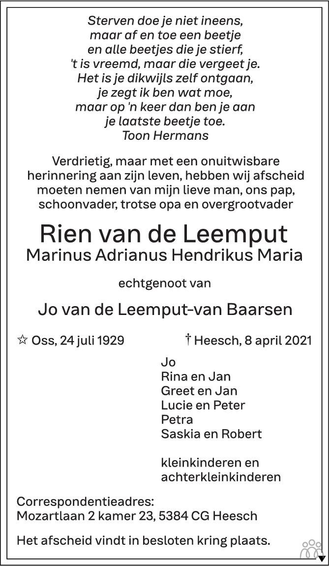 Overlijdensbericht van Rien (Marinus Adrianus Hendrikus Maria) van de Leemput in Brabants Dagblad