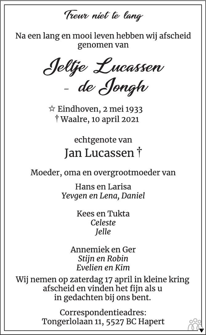 Overlijdensbericht van Jeltje Lucassen-de Jongh in Eindhovens Dagblad