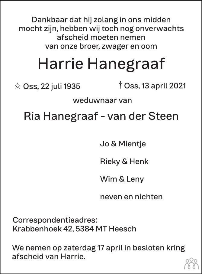 Overlijdensbericht van Harrie Hanegraaf in Brabants Dagblad