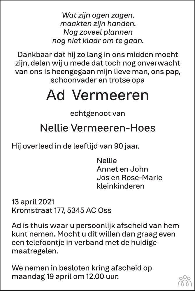 Overlijdensbericht van Ad Vermeeren in Brabants Dagblad