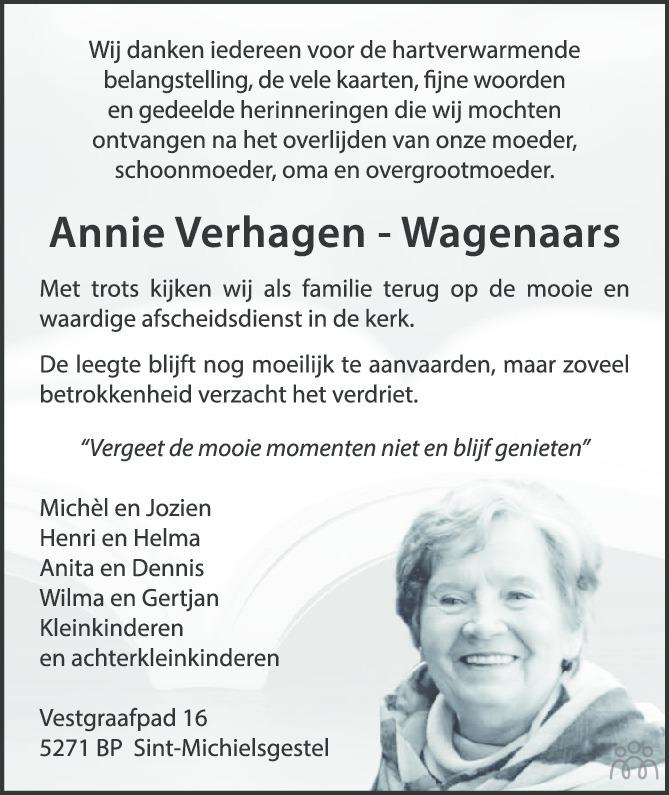 Overlijdensbericht van Annie (Johanna Maria Adriana) Verhagen-Wagenaars in Brabants Dagblad