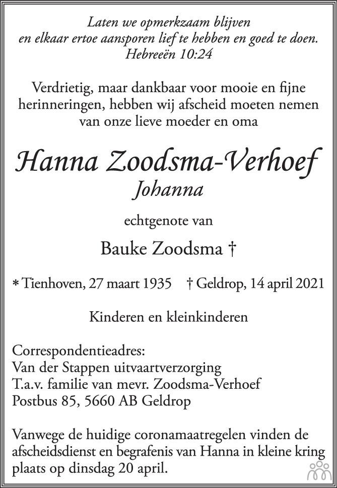 Overlijdensbericht van Hanna (Johanna) Zoodsma-Verhoef in Eindhovens Dagblad
