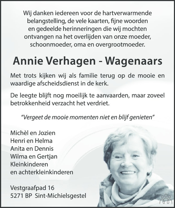Overlijdensbericht van Annie (Johanna Maria Adriana) Verhagen-Wagenaars in Eindhovens Dagblad
