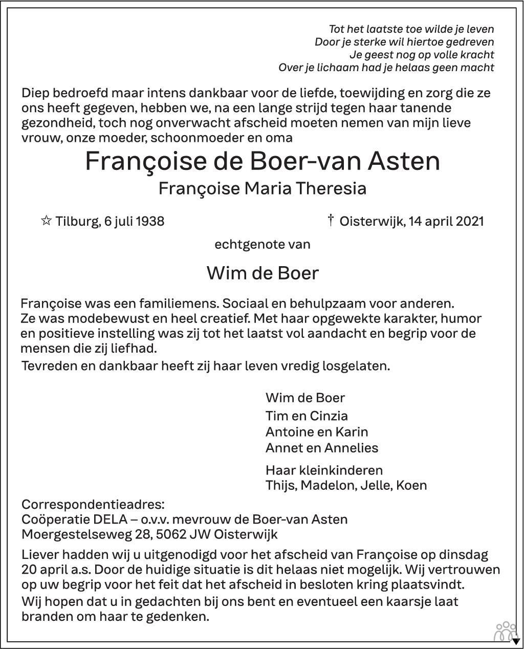 Overlijdensbericht van Françoise Maria Theresia de Boer-van Asten in Brabants Dagblad