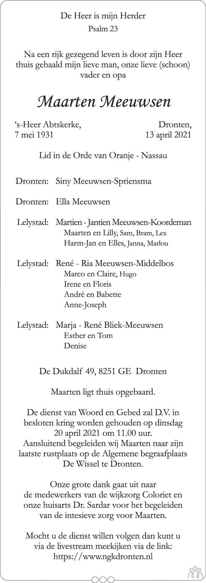 Overlijdensbericht van Maarten Meeuwsen in de Stentor