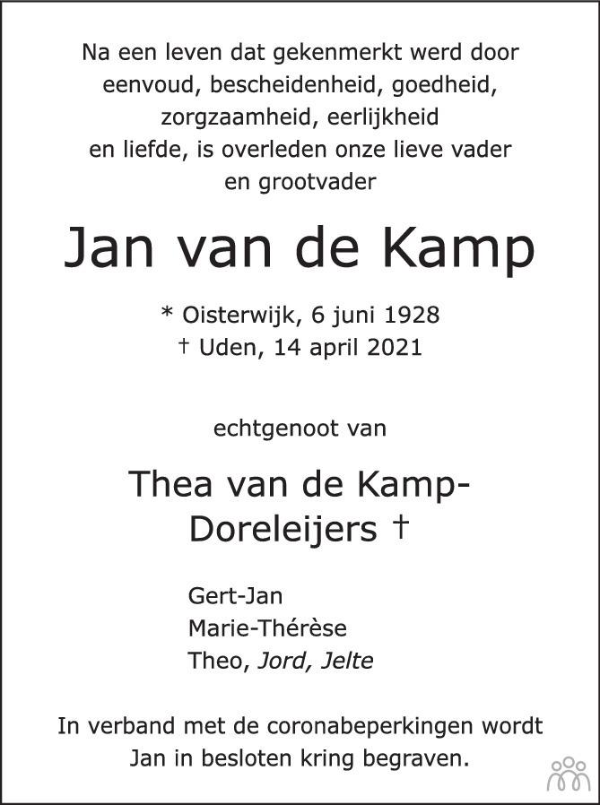 Overlijdensbericht van Jan van de Kamp in Brabants Dagblad