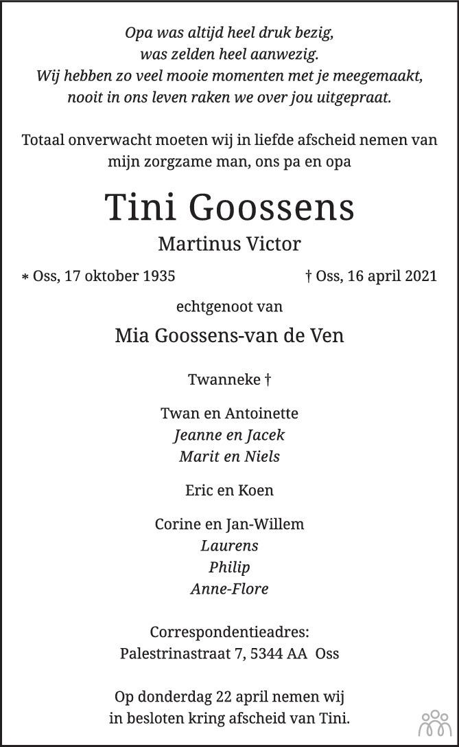 Overlijdensbericht van Tini (Martinus Victor) Goossens in Brabants Dagblad