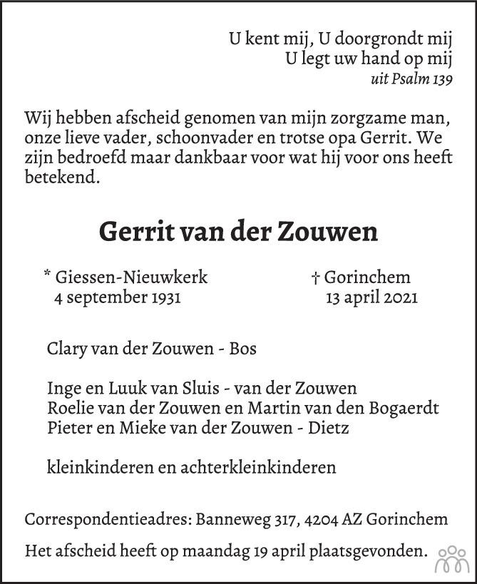 Overlijdensbericht van Gerrit van der Zouwen in Trouw