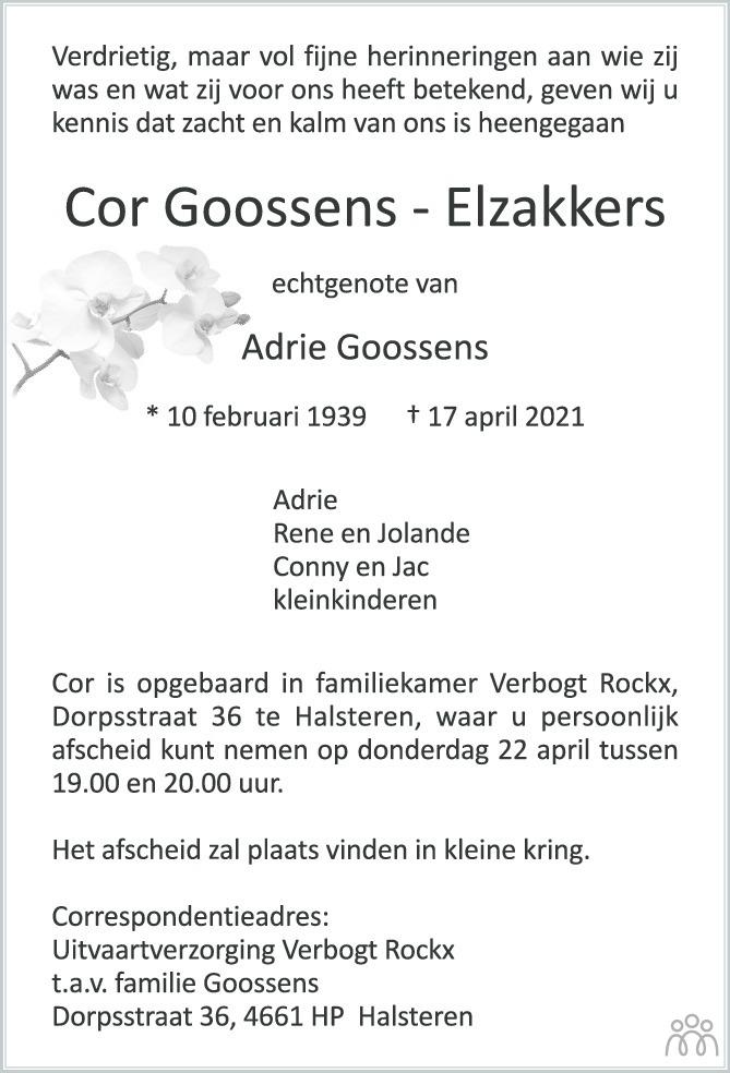 Overlijdensbericht van Cor Goossens-Elzakkers in BN DeStem