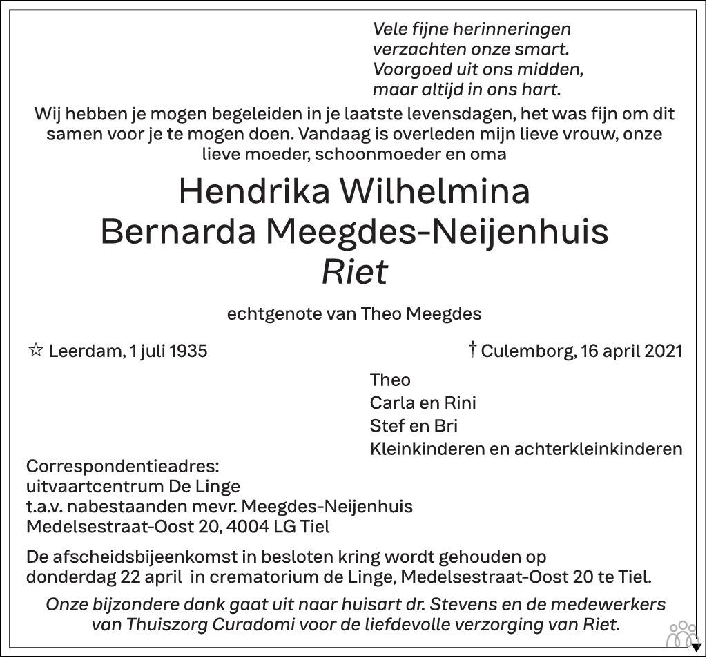 Overlijdensbericht van Hendrika Wilhelmina Bernarda (Riet) Meegdes-Neijenhuis in Zakengids Combinatie