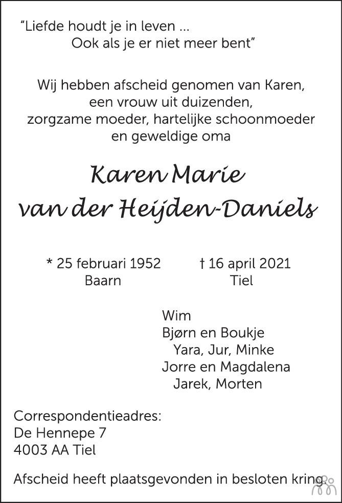 Overlijdensbericht van Karen Marie van der Heijden-Daniels in Zakengids Combinatie