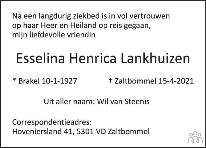 Overlijdensbericht van Esselina Henrica Lankhuizen in De Toren / Carillon