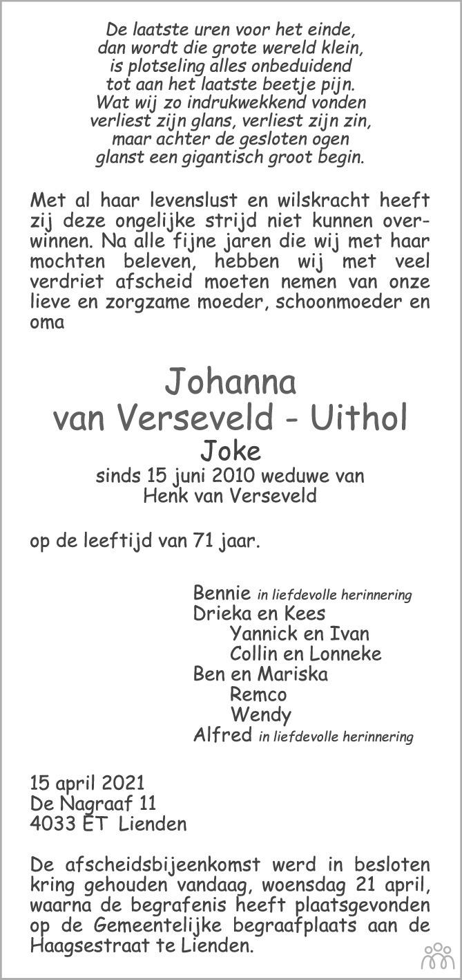 Overlijdensbericht van Johanna (Joke) van Verseveld – Uithol in Zakengids Combinatie
