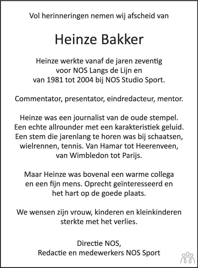 Overlijdensbericht van Heinze Bakker in de Volkskrant