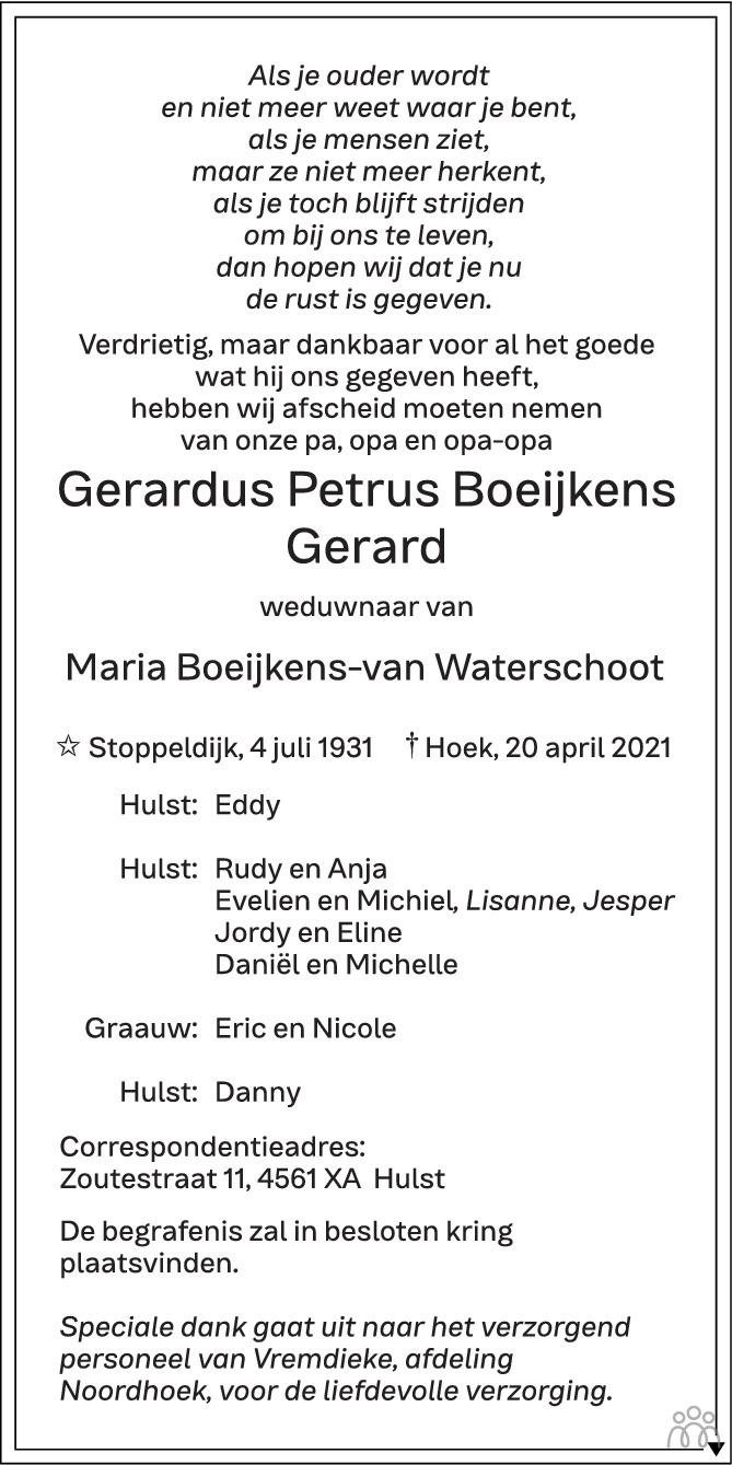 Overlijdensbericht van Gerardus Petrus (Gerard) Boeijkens in PZC Provinciale Zeeuwse Courant
