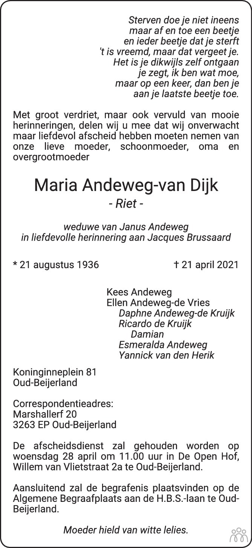 Overlijdensbericht van Maria (Riet) Andeweg-van Dijk in Het Kompas vrijdag