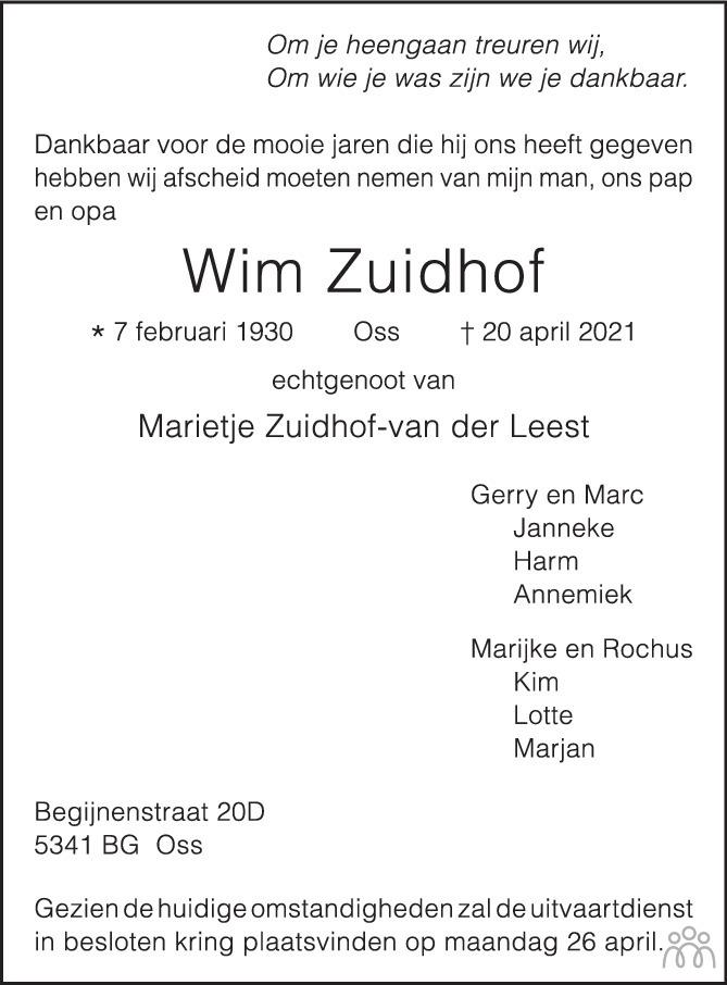 Overlijdensbericht van Wim Zuidhof in Brabants Dagblad