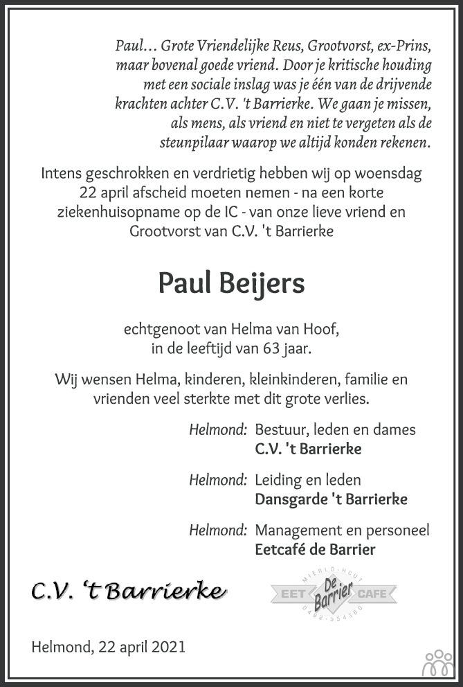 Overlijdensbericht van Paul (Joannes Petrus Paulus) Beijers in Eindhovens Dagblad