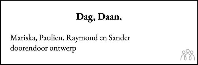 Overlijdensbericht van Daniël Catharinus (Daan) van Amerongen in AD Algemeen Dagblad