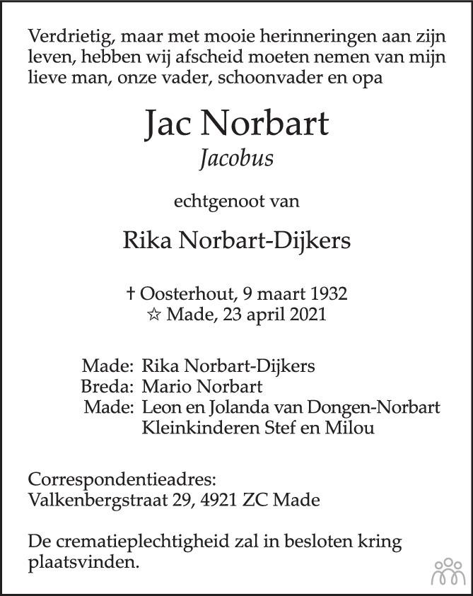 Overlijdensbericht van Jacobus (Jac) Norbart in BN DeStem