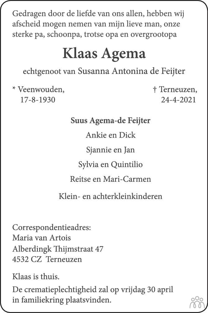 Overlijdensbericht van Klaas Agema in PZC Provinciale Zeeuwse Courant