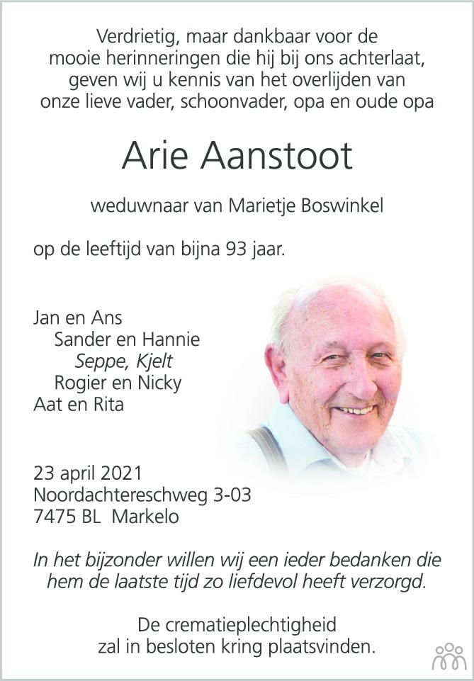 Overlijdensbericht van Arie Aanstoot in Tubantia