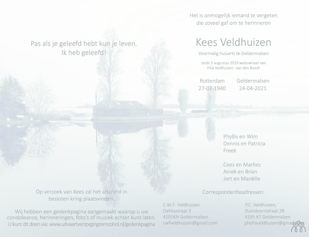 Overlijdensbericht van Kees Veldhuizen in de Gelderlander