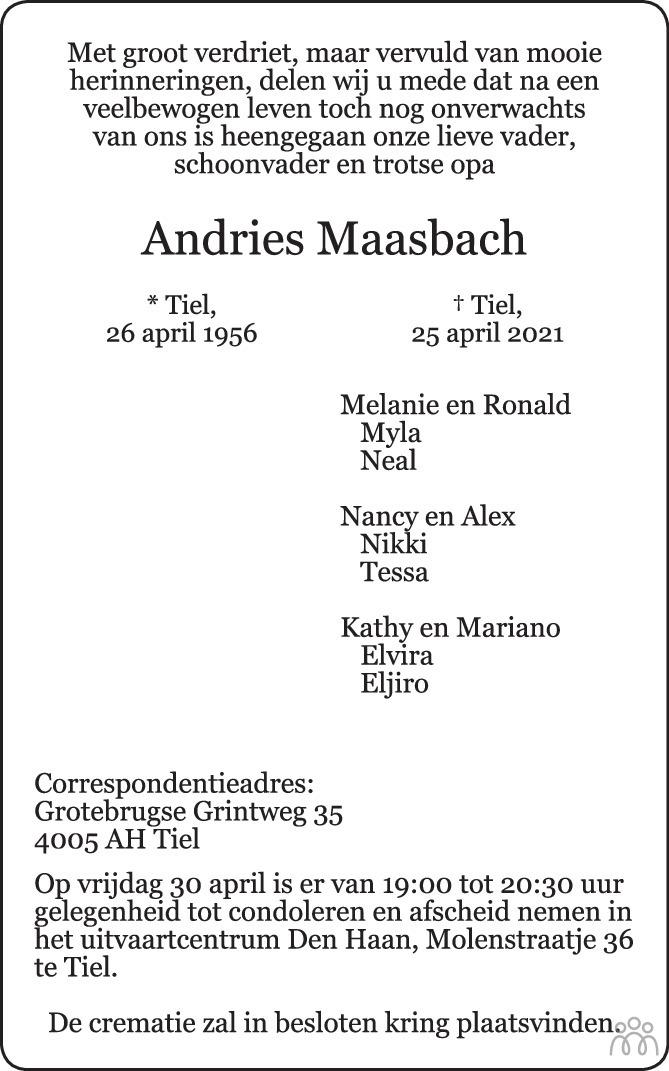 Overlijdensbericht van Andries Maasbach in Zakengids Combinatie