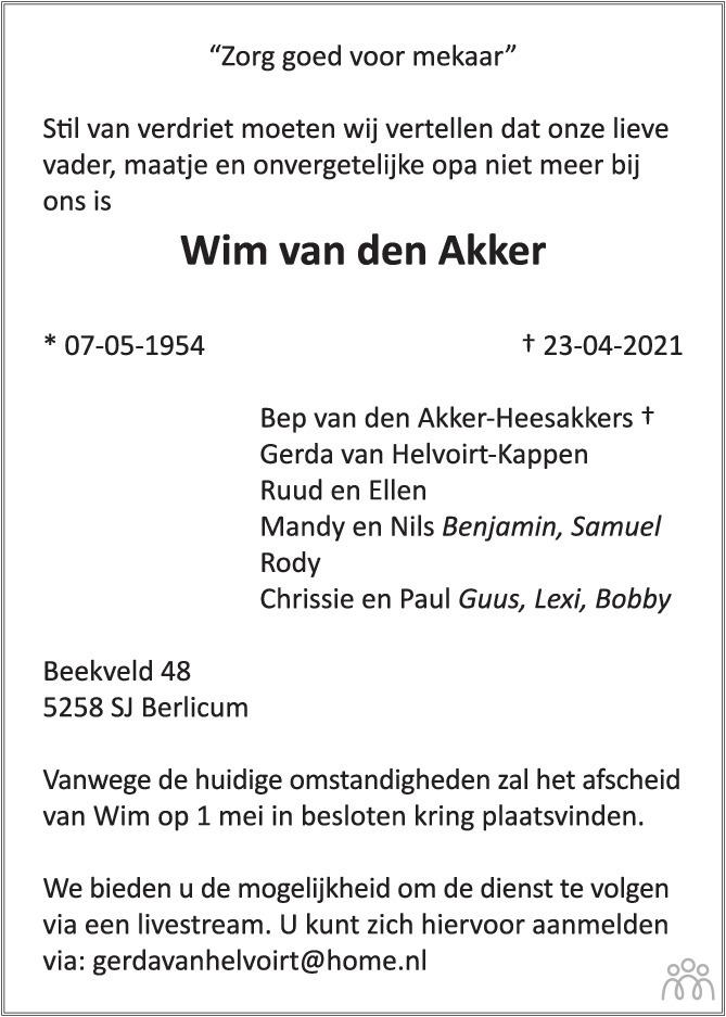 Overlijdensbericht van Wim van den Akker in Brabants Dagblad