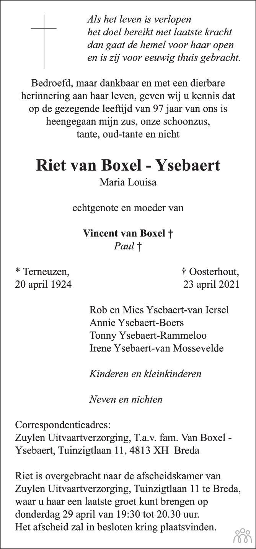 Overlijdensbericht van Riet (Maria Louisa) van Boxel-Ysebaert in BN DeStem