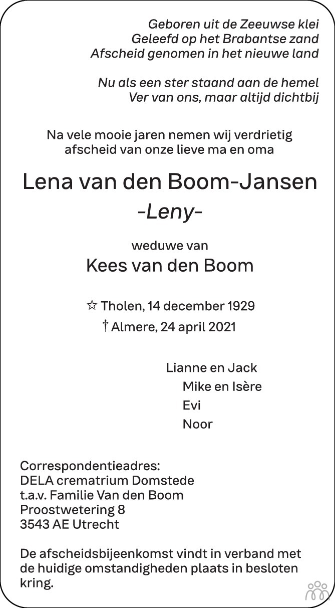 Overlijdensbericht van Lena (Leny) van den Boom-Jansen in BN DeStem