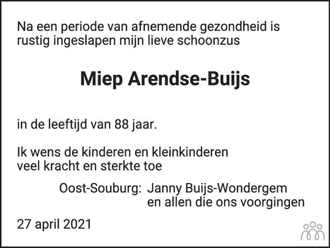 Overlijdensbericht van Miep Arendse-Buijs in PZC Provinciale Zeeuwse Courant