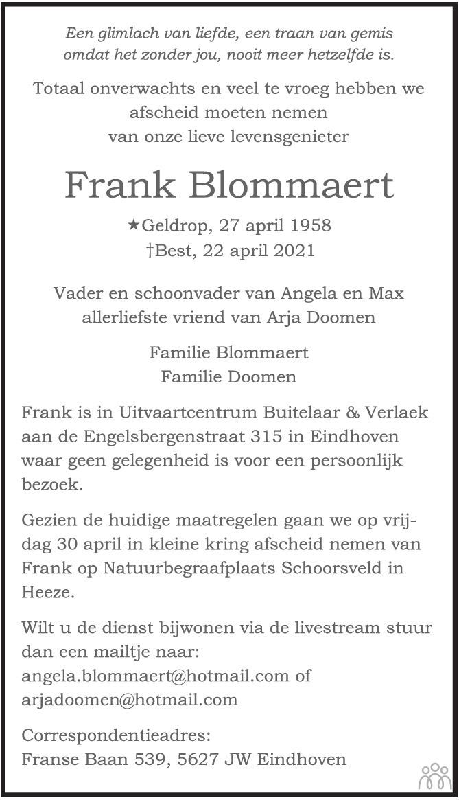 Overlijdensbericht van Frank Blommaert in Eindhovens Dagblad