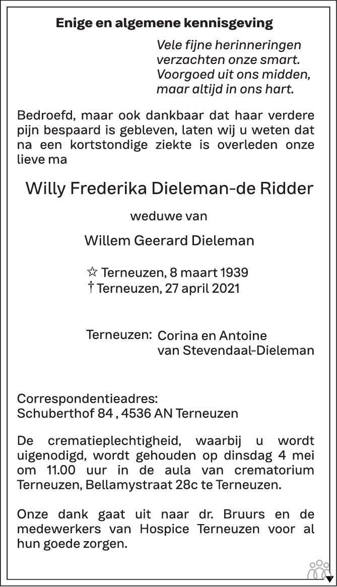 Overlijdensbericht van Willy Frederika Dieleman-de Ridder in PZC Provinciale Zeeuwse Courant
